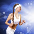 Portrait of a young woman doing sport — Stock Photo