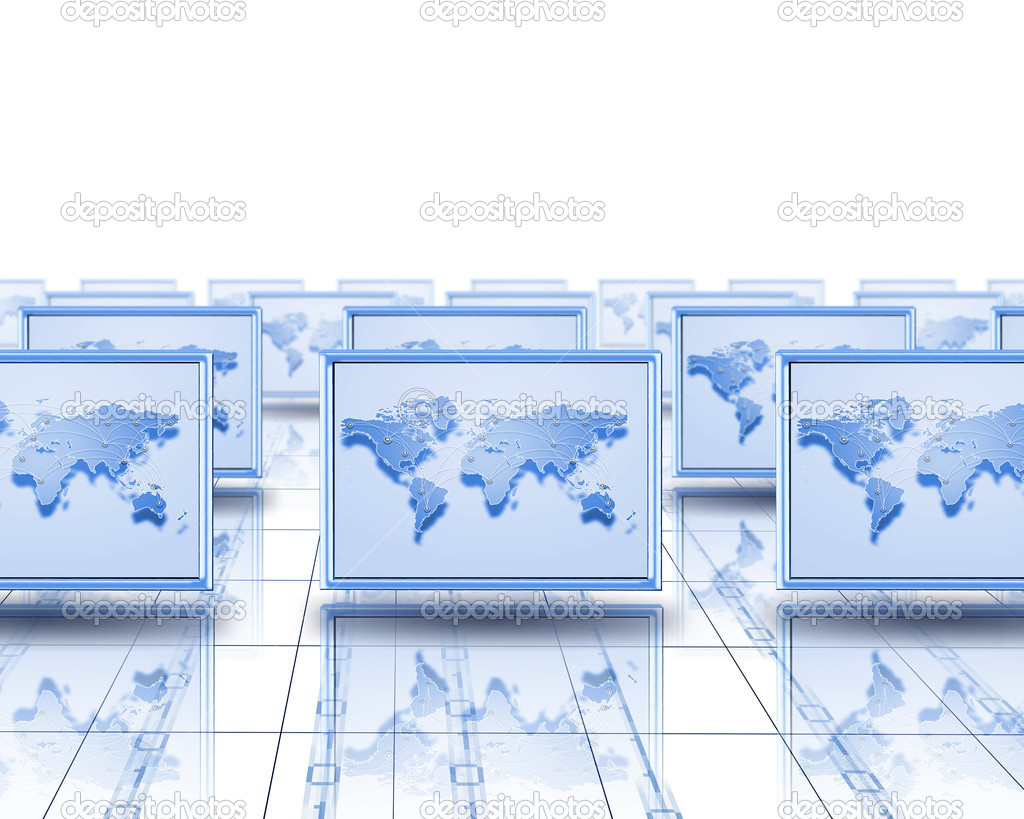 Computer screens with an image of the world on them> — Stock Photo #11798387