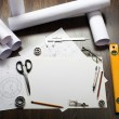 Tools and papers with sketches - Stok fotoğraf