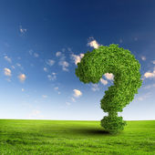 Green grass question mark — Stock Photo