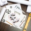 Tools and papers on the table — Stock Photo #11892966