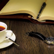 Black coffee and book — Stock Photo #11893183