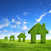 Groen gras huis symbool — Stockfoto