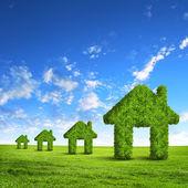 Symbol dům zelené trávy — Stock fotografie