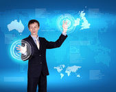 Business person and technology related background — Stock Photo