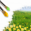 Stock Photo: Paint brushes and landscape image