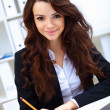 Young busines woman with notebook — Stock Photo #12030334