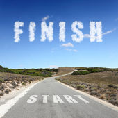 Road leading to finish — Stock Photo