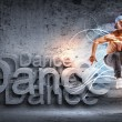 Young man dancing hip hop with color lines — Stock Photo #12260342