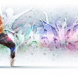 Young man dancing hip hop with color lines — Stock Photo #12261056