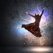 Girl in color dress dancing.Collage — Stock Photo