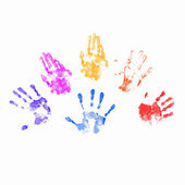 Colourful prints of human hands — Stock Photo