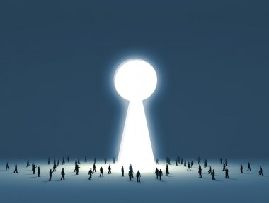Walking into a gate shaped like a keyhole
