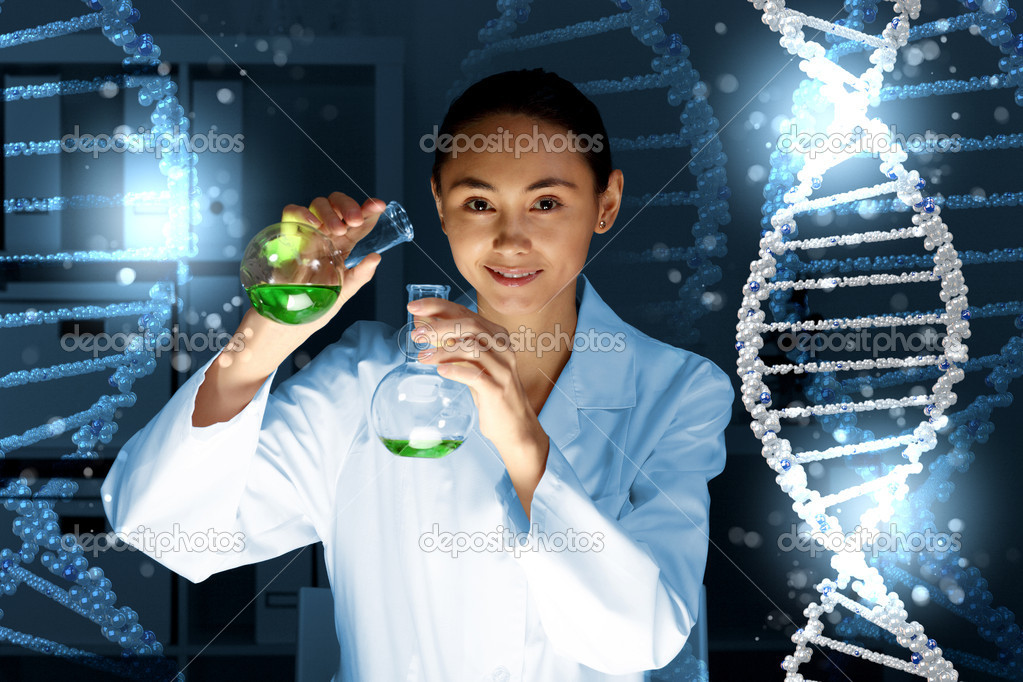 Image of DNA strand against colour background — Stock Photo #12260645