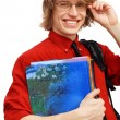 Happy student with books — Foto Stock