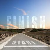 дорога, ведущая к закончить — Стоковое фото