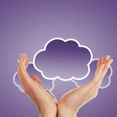 Hand with cloud computing symbol — Stock Photo