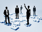 Social network and human figures — Stock Photo