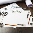 Tools and papers with sketches — Stock Photo #12290838
