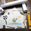 Picture of a tropical island on the table - Stock Photo