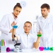 Stock Photo: Young female scientist working in laboratory