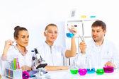 Zespół naukowców pracuje w laboratorium — Zdjęcie stockowe