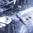 Plane against business background — Stockfoto