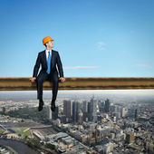 Businessman and cityscape — Stock Photo