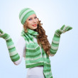 Young woman wearing warm sweater — Stock Photo