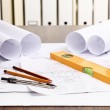 Tools and papers with sketches — Stock Photo