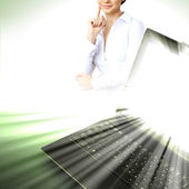 Image of notebook with shining screen — Stock Photo