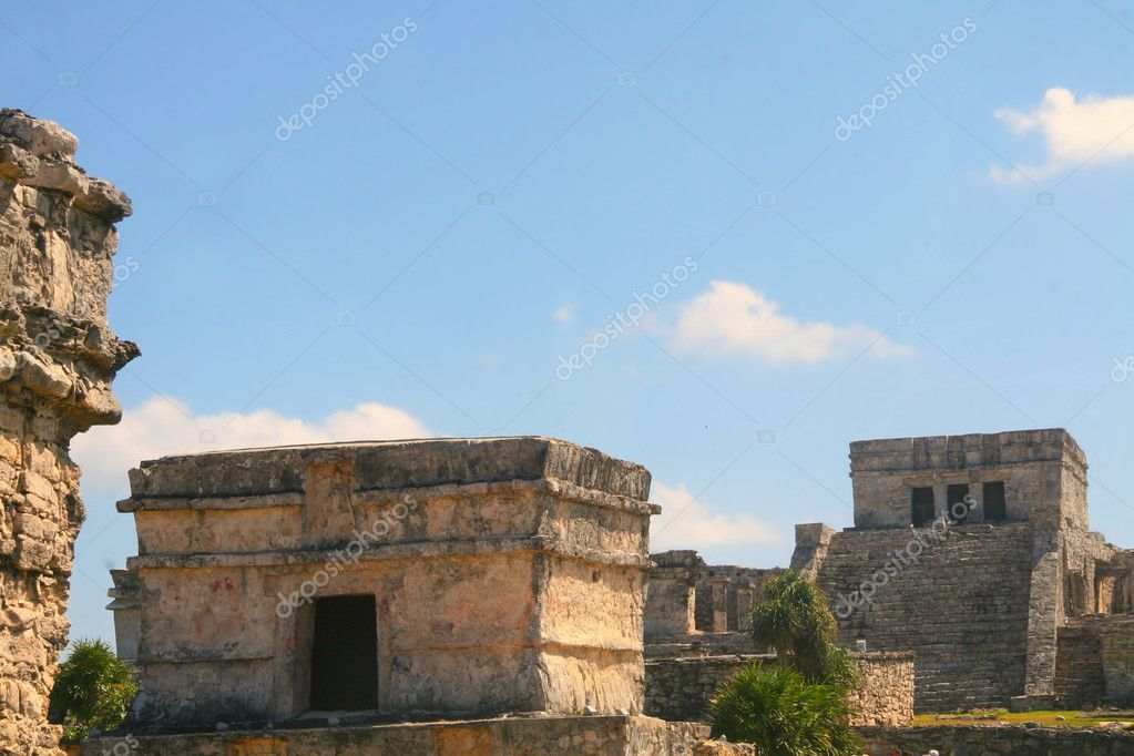 Tulum Maya ruins, Mexico - Temple of frescoes  Stock Photo #10942611