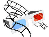 3d glasses and filmstrip — Stock Photo