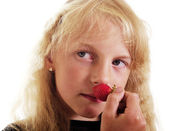 Girl with strawberry. — Stock Photo