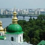 Kiev skyline and church of Kiev-pechersk lavra — Stock Photo