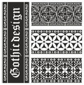 Set of seamless black-and-white gothic floral vector ornaments — Stock Vector