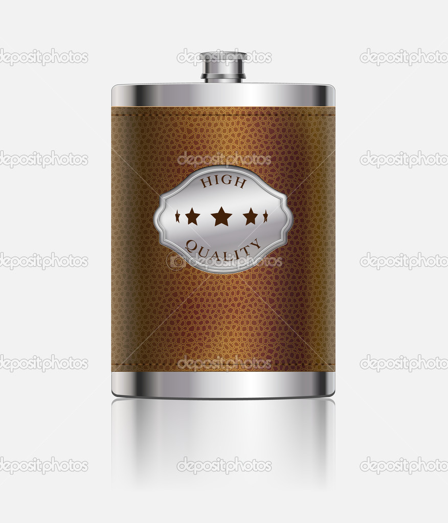 Stainless hip flask wrapped in leather  Stok Vektr #10960863