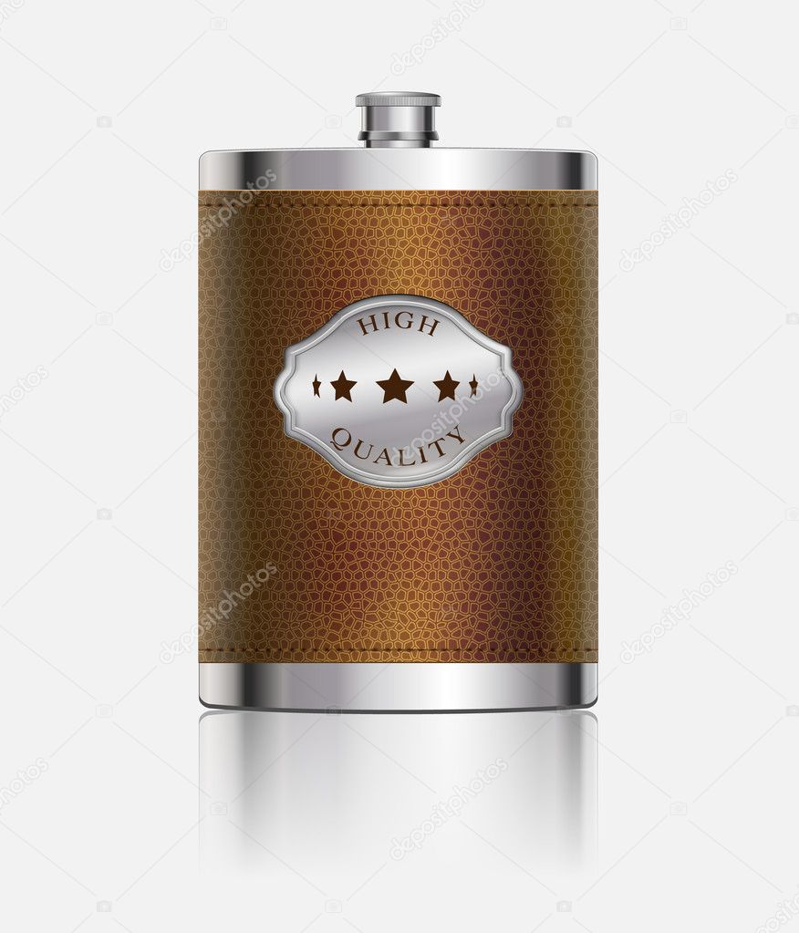 Stainless hip flask wrapped in leather — Image vectorielle #10960863