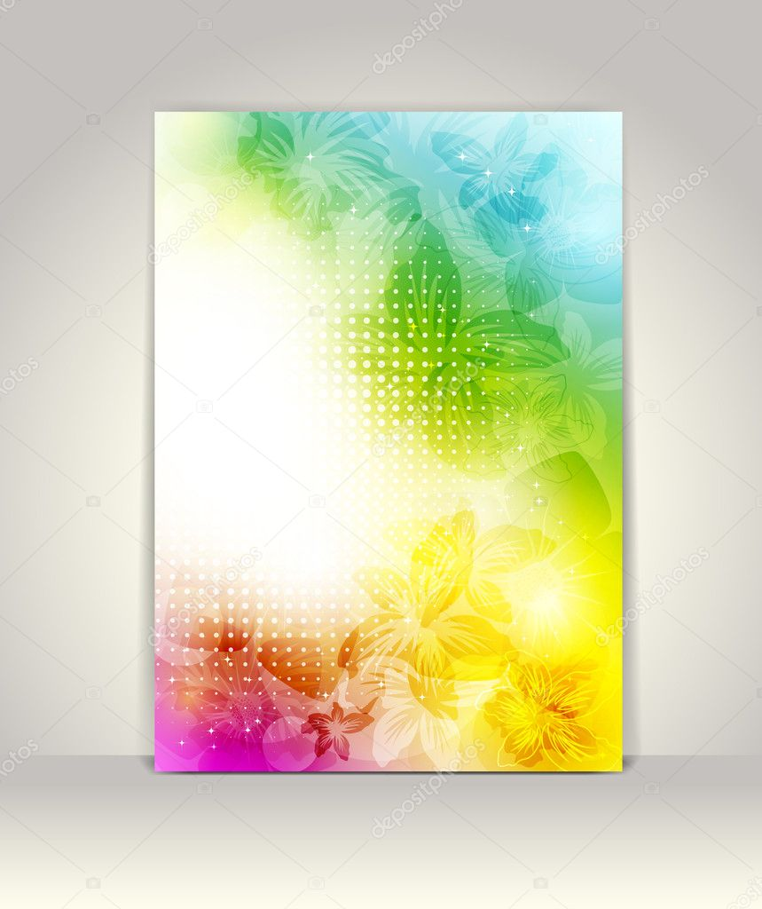 Business brochure template, flower colorful design — Stock Vector #10962076