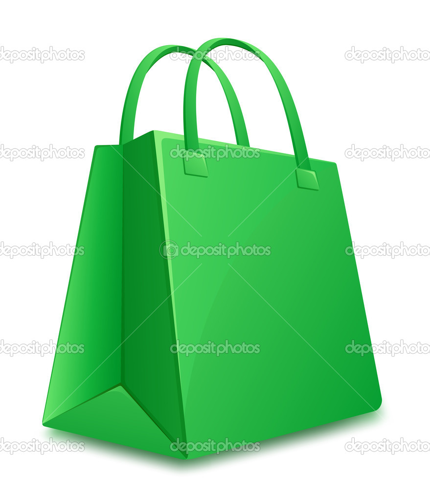 Green shopping bag. Vector illustration — Stock Vector #10804585