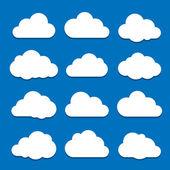 Beyaz bulutların üzerinde mavi gökyüzü — Stok Vektör