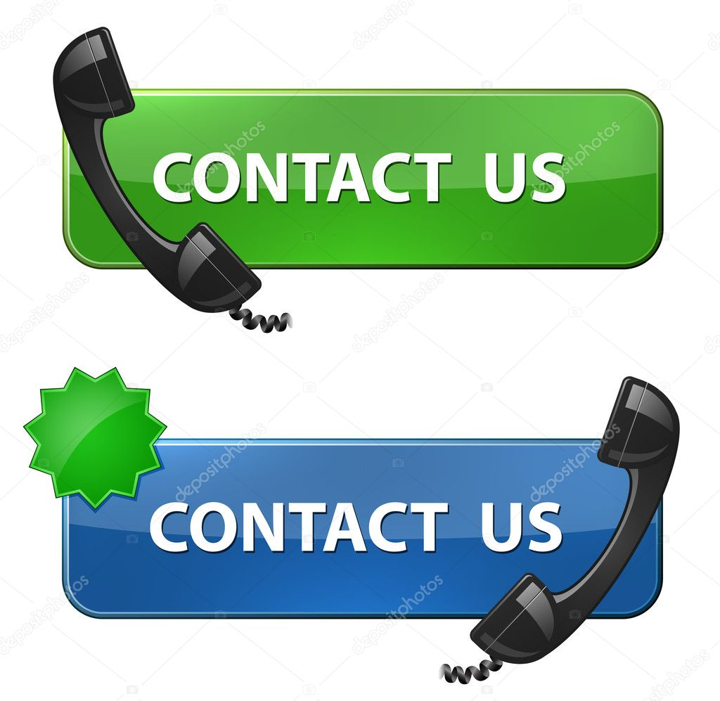 """Contact Us"" icon. Phone receiver and contact us button. Vector illustration — Stock Vector #10967274"