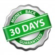 Money back guarantee label — Stockvectorbeeld