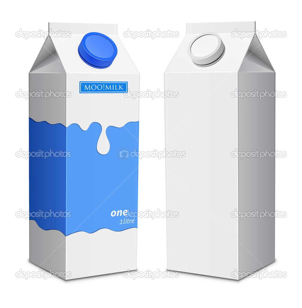 Milk boxe template. Milk cartons with screw cap — Vettoriali Stock  #12319535