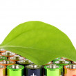 Green plant sheet and battery, ecology concept — Stock Photo