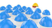 The chief in a helmet faces to workers, meeting before work — Stock Photo
