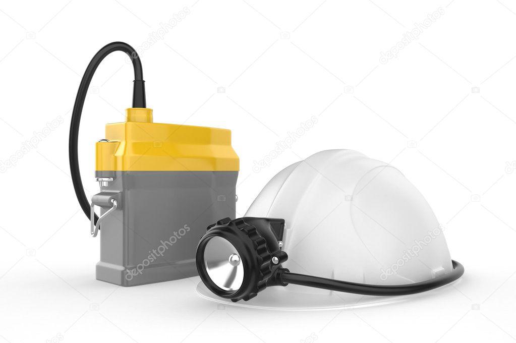 Шахтерская каска с фонариком на белом фоне, иллюстрация 3677484 (c) Маринченко Александр / Фотобанк Лори.