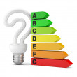 Energy saving concept. Energy performance scale with light bulb — Stock Photo #12194599