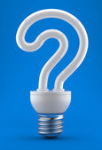 Bulb in the form of a question mark — Stock Photo