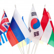 Grouping of various flags of the world — Stock Photo